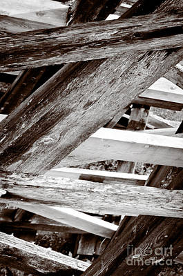 Framework Kinsol Trestle Wooden Frame In Abstract Black And White Art Print by Andy Smy