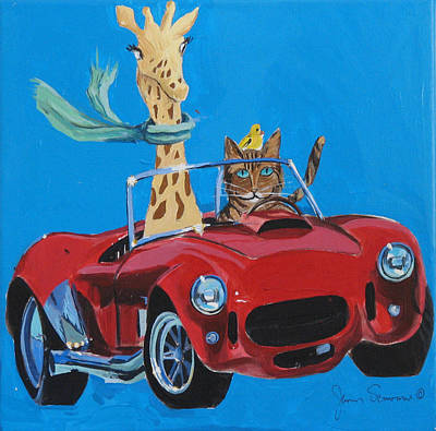 Sportscar Painting - Francie And Friends Go For A Drive by James Scrivano