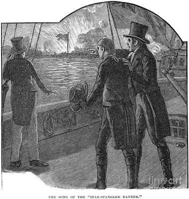 Francis Scott Key (1779-1843). American Lawyer And Poet. Witnessing The Bombardment Of Fort Mchenry, September 13-14, 1814: Wood Engraving, American, 1885 Art Print by Granger