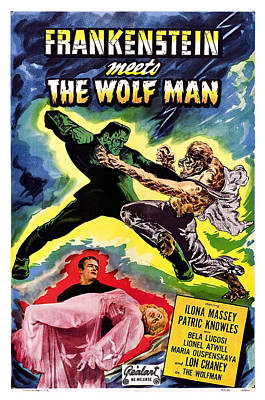 Frankenstein Meets The Wolf Man, Bottom Art Print by Everett