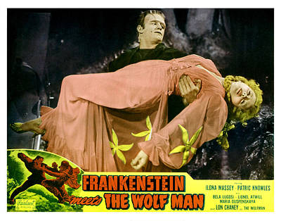 Frankenstein Meets The Wolf Man, Main Art Print by Everett