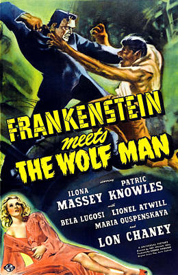 Frankenstein Meets The Wolf Man, Top Art Print by Everett