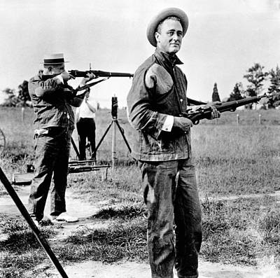 Franklin Roosevelt On A Rifle Range Print by Everett
