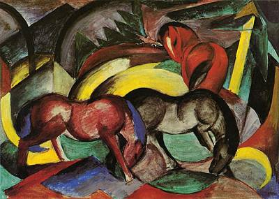 Franz Marc Painting - Franz Marc  by Three Horses