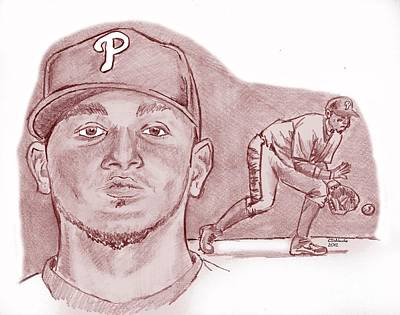 Drawing - Freddy Galvis  by Chris  DelVecchio