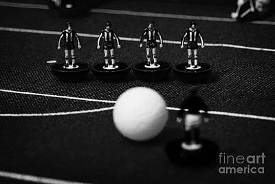 Free Kick Wall Of Players Football Soccer Scene Reinacted With Subbuteo Table Top Football  Art Print by Joe Fox