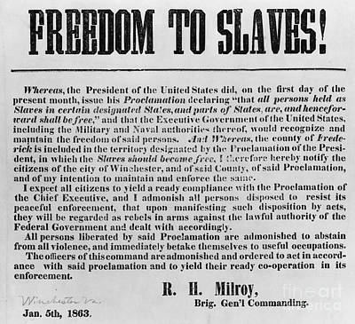 Freedom To Slaves Art Print by Photo Researchers