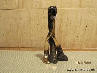 Sculpture - Freestanding Legwork Bronze Sculpture With Brass And Opaque Surfaces  by Rachel Hershkovitz