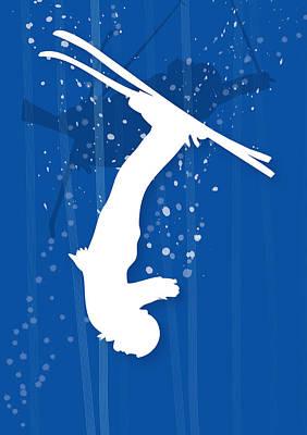 Winter Sports Digital Art - Freestyle Skier In Mid Flip by Meg Takamura
