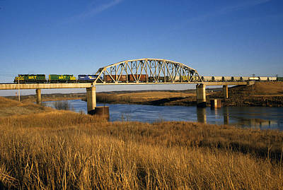 Freight Train Photograph - Freight Train Crossing by Susan  Benson