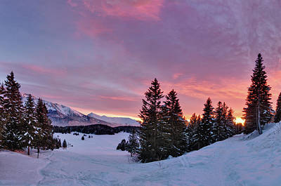 Winter Sunset Photograph - French Alps At Sunset by Philipp Klinger