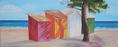 Painting - French Beach Huts by Siobhan Lawson