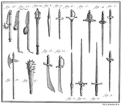 French Chivalric Weapons Art Print by Granger