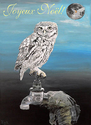 Mixed Media - French Christmas Little Owl by Eric Kempson