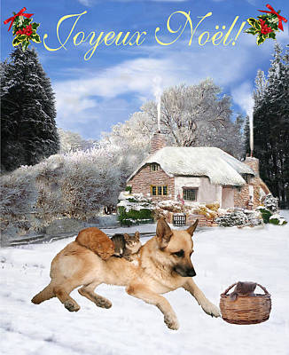 Friend Holiday Card Mixed Media - French German Shepherd Holiday by Eric Kempson