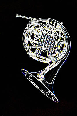 Photograph - French Horn Color Photo Drawing by M K Miller