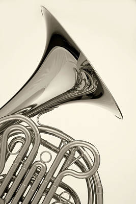 Photograph - French Horn Isolated On White by M K  Miller