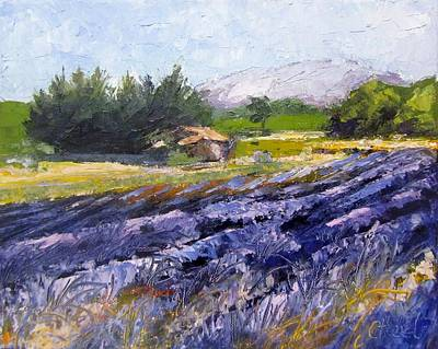Painting - French Lavender  Provence Palette Knife Painting by Chris Hobel