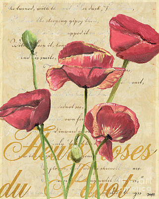 Fleur Painting - French Pink Poppies 2 by Debbie DeWitt