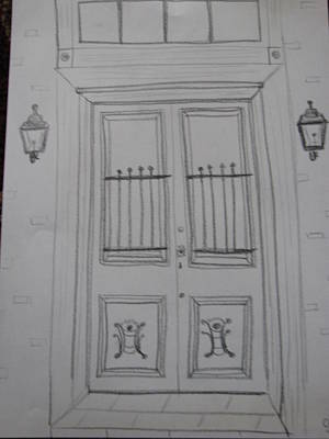 French Door Drawing - French Quarter Door by Christina Pereira