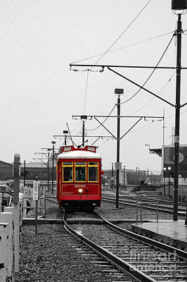 Photograph - French Quarter French Market Cable Car New Orleans Color Splash Black And White by Shawn O'Brien