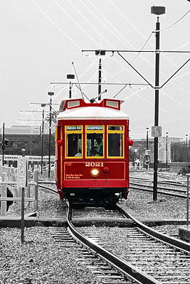 Digital Art - French Quarter French Market Cable Car New Orleans Color Splash Black And White With Accented Edges by Shawn O'Brien