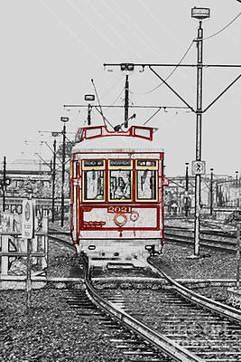 Digital Art - French Quarter French Market Cable Car New Orleans Color Splash Black And White With Colored Pencil by Shawn O'Brien