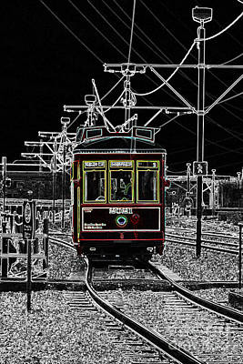 Digital Art - French Quarter French Market Cable Car New Orleans Color Splash Black And White With Glowing Edges by Shawn O'Brien