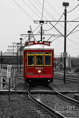 Digital Art - French Quarter French Market Cable Car New Orleans Color Splash Black And White With Poster Edges by Shawn O'Brien