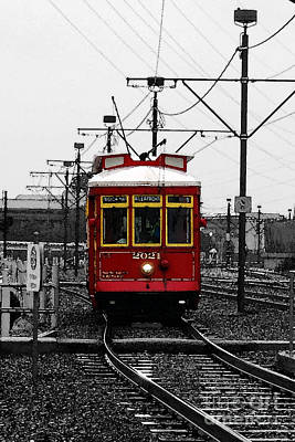 Digital Art - French Quarter French Market Cable Car New Orleans Color Splash Black And White With Watercolor by Shawn O'Brien