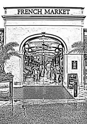 French Quarter French Market Entrance New Orleans Photocopy Digital Art Print by Shawn O'Brien