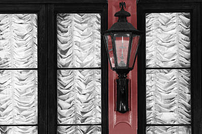 Gas Lamp Photograph - French Quarter Gas Lamp With Red by VJ Lair