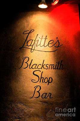 French Quarter Illuminated Lafittes Blacksmith Shop Bar Sign New Orleans Ink Outlines Digital Art Print by Shawn O'Brien