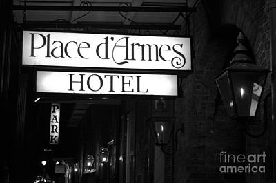 Gas Lamp Photograph - French Quarter Place Darmes Hotel Sign And Gas Lamps New Orleans Black And White by Shawn O'Brien
