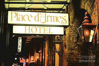 Photograph - French Quarter Place Darmes Hotel Sign And Gas Lamps New Orleans Film Grain Digital Art by Shawn O'Brien