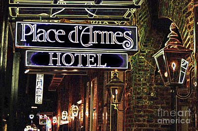 Digital Art - French Quarter Place Darmes Hotel Sign And Gas Lamps New Orleans Glowing Edges Digital Art by Shawn O'Brien