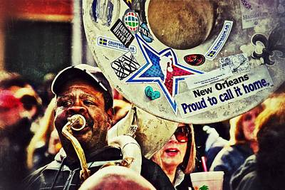 Print featuring the photograph French Quarter Tuba Guy 1 by Jim Albritton