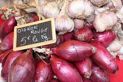 French Red Onions And Garlic Art Print by Yvonne Ayoub