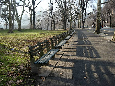 Art Print featuring the photograph Fresco Park Benches by Sarah McKoy