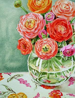 Ranunculus Painting - Fresh Cut Flowers by Irina Sztukowski