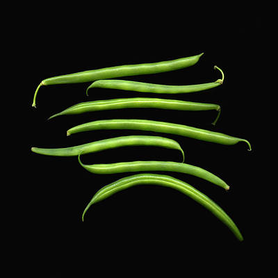 Green Beans Photograph - Fresh Produce. A Row Of Green Beans by Marlene Ford