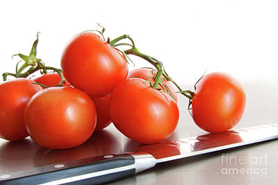 Fresh Ripe Tomatoes On Stainless Steel Counter Art Print by Sandra Cunningham