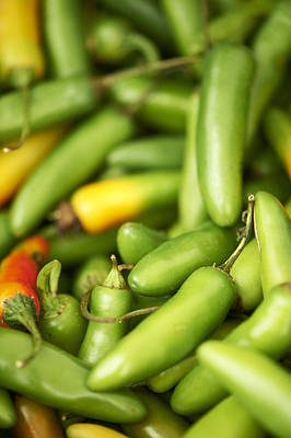 Y120907 Photograph - Fresh Serrano Peppers by Cameron Davidson