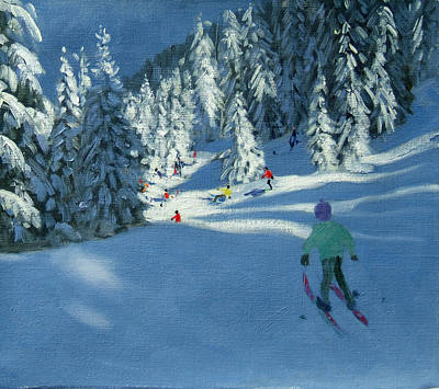 Ski Painting - Fresh Snow by Andrew Macara