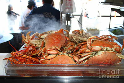 Freshly Cooked Steaming Hot Dungeness Crabs At Fishermans Wharf . San Francisco California . 7d14461 Art Print by Wingsdomain Art and Photography