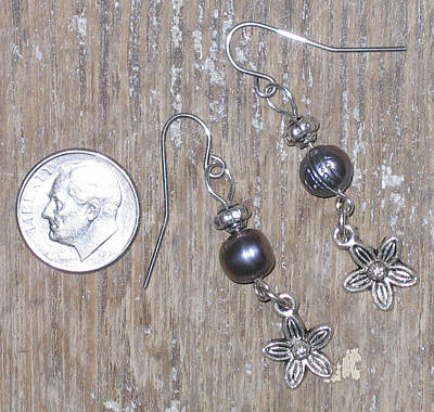 Freshwater Pearl And Bali Floral Bead Earrings Original by Elizabeth Carrozza