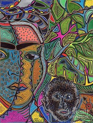 Frida Drawing - Frida And Her Monkey by Sarah  Niebank