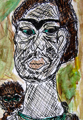 Mixed Media - Frida Eyebrows And Green Eyes by Patricia Januszkiewicz