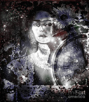 Kahlo Mixed Media - Frida In Black White by Fania Simon