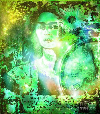 Central America Mixed Media - Frida In Green by Fania Simon
